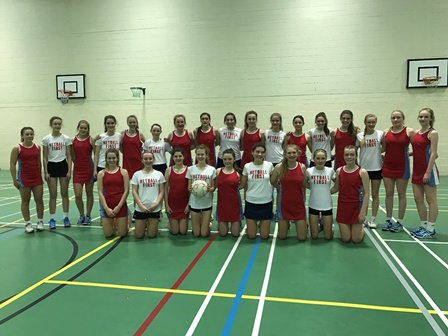Hampshire County Academy dressed in red, back row left to right.  Chloe Hayward, Amber Blackman, Lauren Webster, Katie Barrow, Catherine White, Ciara Foley, Gabriel Moore, Zoe Henderson, Alice Wood, Emily Winzar.  Front Row, left to right.  Lucy Griffiths, Lauren Welsh, Emily Hammond, Maggie Pickersgill, Ella Chainey